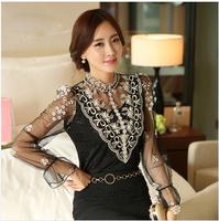 New 2014 Autumn Women blusas femininas Long Sleeve Shirt Elegant Beading And Embroidery Lace Patchwork Gauze Blouse for women