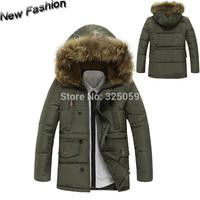 Winter Mens Fur Collar Coat Duck Down Plush Size Hombre Winter Jacket  Men Parka Coats