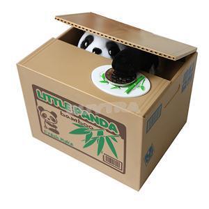 2015 New Sanwony New Cute Automated Panda Steal Coin Bank Piggy Bank Money Saving Box Gifts(China (Mainland))