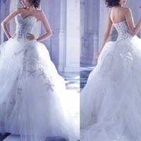 New vestidos de noivas rendas estilo princesa princess wedding dresses with crystal sweetheart Lace Long Train bridal gown 2014