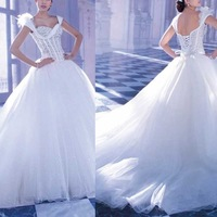 2014 New sweetheart princess  bridal gown wedding dresses 2014 With Luxury Crystal White Lace Up vestidos de noivas com mangas