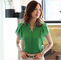 Free Shipping New 2015 Summer Casual Elegant Blue White Green colors  blusas femininas Chiffon Blouse Shirts With Ruffle Women