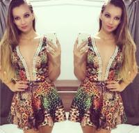 New Fashion 2014Pearl color leopard print dressVestidos De Fiesta