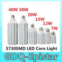 Free shipping 1pcs/lot 5730 SMD LED Lamp E27 B22 E14 7W/12W /15W/20W /25W/ 30W / 40W 110V/ 220V  LED corn Bulb Warm/Cool White