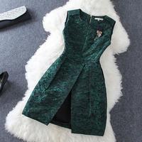 2014 new High quality Rose brooch before split printing sleeveless dress