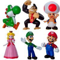 Retail Free shipping 6pcs/set Super Mario Bros Luigi Mario Action Figures Toys Doll