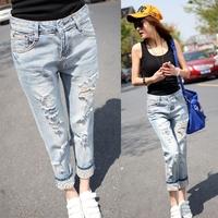 2014 New Autumn Fashion Vintage Denim Jeans Woman Ripped Casual Loose Harem Pants Leopard Hole Women Jean Pants Denim Trousers
