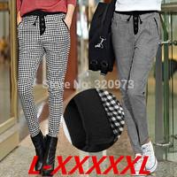 L-5XL size 2014 new european style extra plus size black white plaid pants women warm winter pants pencil trousers free shipping