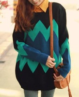 Free shipping/In paragraph 2014 autumn long sweater set of big size sweater loose woman