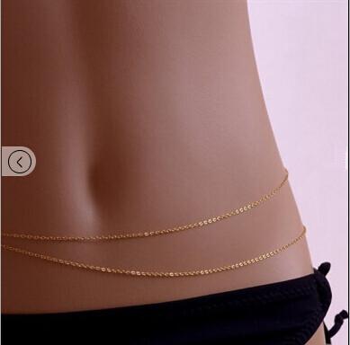 New 2014 Fashion Trendy Gold Bikini Belly Body Waist Link Chain Sexy Necklace(China (Mainland))