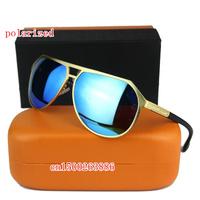 New men's color film polarizer Colorful sunglasses 8807 high quality designer metal brand polarized sunglasses for men
