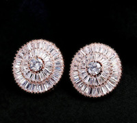 New Arrival Rose gold plated Swiss zircon exaggerated women wedding stud earrings fashion
