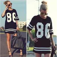 New Fashion Women Celeb Plus Size 86 American Baseball Tee T-shirt Top Loose Fit Short Sleeve Loose Shirt Dress Black/White S-XL
