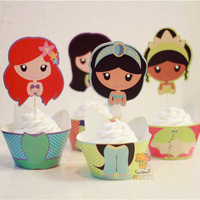 96PCS Jasmine Tianna  Mermaid princess cupcake wrappers decoration kid's party favors cake toppers cupcake cases