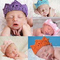 Hot Handmade Newborn Baby Girl Boy Crochet Knit Crown Hat Photo photography Prop Clothing 2014