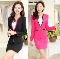 2014 New Fashion Autumn Winter Elegant Professional Business Suits Blazer And Skirt For Ladies Office Work Wear Uniforms Blazers