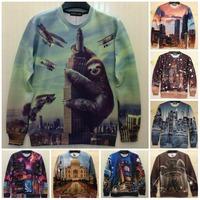 New 2014 Autumn City Building taj mahal castle Printing Sweatshirt Unisex Casual Hoodies Man/Women 3D Pattern Sportwear Tops