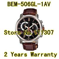 new BEM-506GL-1AV  gold silver Roman numerals black surface casing black strap men's watch