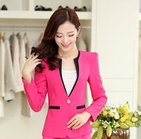 2014 New Fashion Slim Candy Color Women Blazer Coat Plus Size 4XL Feminino Uniforms Business Women Blazers Jackets Coat Tops