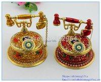 Big size Vintage Telephone Handmade Jeweled Trinket Box for Sale