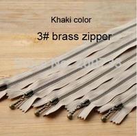 Free shipping 10pcs/lot 30cm  3# brass slider nylon zippers, white/khaki/black color smoothly zipper, DIY zippers.