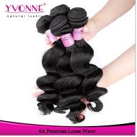 3Pcs/lot Peruvian Loose Wave Virgin Hair,Grade 6A Unprocessed Human Hair Extensions,Aliexpress Yvonne Hair,Natural Color 1B