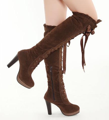 New Arrival Sexy Overknee salto alto botas Lace Up Suede joelho botas de salto alto(China (Mainland))