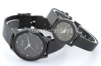 200pcs/lot waterproof Christmas Luxury Brand Classic SINOBI Men Women Lovers Black Glass PU Leather Strap Quartz Wrist Watch