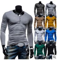 Drop Shipping M-XXL 2014  New Men Shirt 8 colors Camisas  Men's Slim Fit Long Sleeve V-neck  Casual Shirt