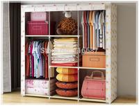 Simple, folding, double, bold steel tube, cloth wardrobe