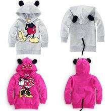 2014 nuevo otoño Niñas Niños bebés 3D Minnie Mouse con capucha Tops ropa de la camiseta de Outwear niño(China (Mainland))