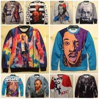 Einstein MJ Van Gogh KFC Tongue Bomb Printing Unisex 3D Sweatshirt Casual Sportwear Hoodies 2014 Fashion Women Man Brand Tops