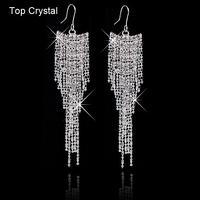 Free shipping Brand designer High quality crystal wedding jewelry shiny rhinestone tassel channel earrings for women 2014 M11