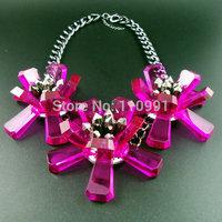 Big Fuxia Green New Unique Chunky Bib Choker Big Bead Chain Flower Statement Necklaces Jewelry