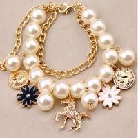 Hot sale !!1 Fashion Elegant Flower Crystal Horse Pearl bracelet