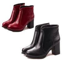 fashion Women Round Toe Block Heel Stitching Zipper Warm Ankle winter autumn Boots Shoe Pumps Booties