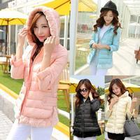 2014 new slim winter warm jacket female Korean long down jacket women new fashion wool collar hooded down jacket coat
