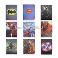 Cute 3D Cartoon Batman Superman Spiderman Captain America Design Flip Stand Leather Smart Case Cover For iPad 2 3 4