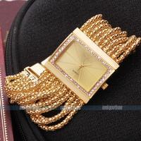 New Classic Fashion Rhinestore Quartz Women's Gold Diamond Square Case Alloy Band Wowen dress watch  Bracelet Watch
