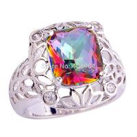 Wholesale Mysterious Women Men Noble Jewelry Emerald Cut Rainbow Topaz & White Topaz 925 Silver Ring Size 7 8 9 10 11 12