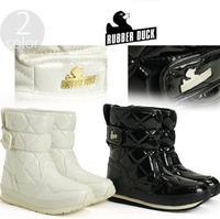 RUBBER DUCK women pu leather snow boots waterproof platform non-slip warm cotton shoes Argyle mid-calf winter womens sneakers