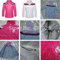 14-15 Real Madrid Waterproof Jacket Hoodies Training Hoodies Real Madrid Pink and White Real Madrid Wind Coat Free Shiping
