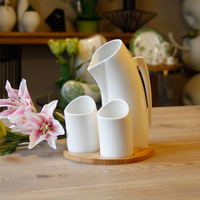 Creative Porcelain and Ceramics Kettle and Cups 3 Pieces Set Decor Drinkware and Tableware Craft for Coffee, Tea and Milk Etc.