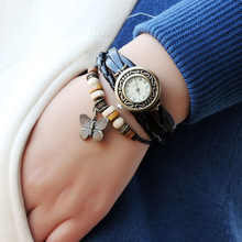 Jewelry Hemp Rope Butterfly Antique Leather Pendant Bracelet Watch