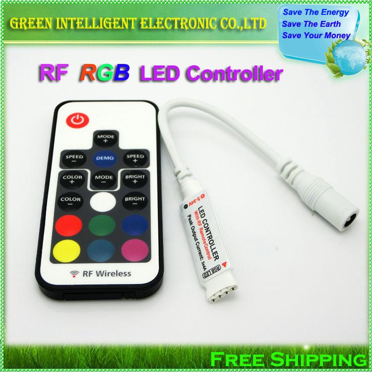 1pcs/lot,DC 5V-24V 12A 17key mini RF wireless led RGB remote Controller with 4pin female DC for RGB LED Strip Lights(China (Mainland))