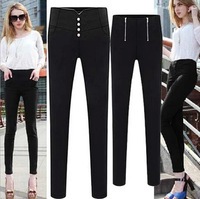 East Knitting MY-037 2014 Spring Autumn Women Pants Slim Elastic Zipper Plus Size High Waist Legging Thin Casual Pants