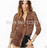 Sexy Leopard Ladies Tops Women Clothing Chiffon Blouse Long Sleeve Pocket Loose Dovetail CC Blusas Femininas Shirts Blusa D334