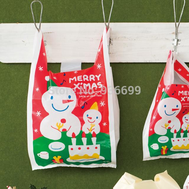Christmas gift bag plastic X'mas vest bag 18*35*5cm 100pcs pack HDPE(China (Mainland))