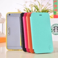 The original brand quality luxury color PU leather holster PC transparent back cover case for iphone 6