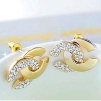 (At least $10) France Top quality Top Pure Swiss CZ Diamond 18K Gold Women Brand CLuxury Half Zirconia Diamonds Stud Earrings